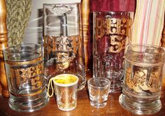 """""""Beer!  Get your Beer here!"""" Fun set of mugs, pitcher and shot glasses."""