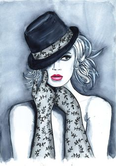 Print from Original Watercolor Fashion Illustration Modern Art Painting titled Playful Hat. $22.00, via Etsy.