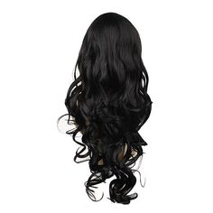 Extra Long Black Wave Curly Hair Wig Full Wig for Women Long