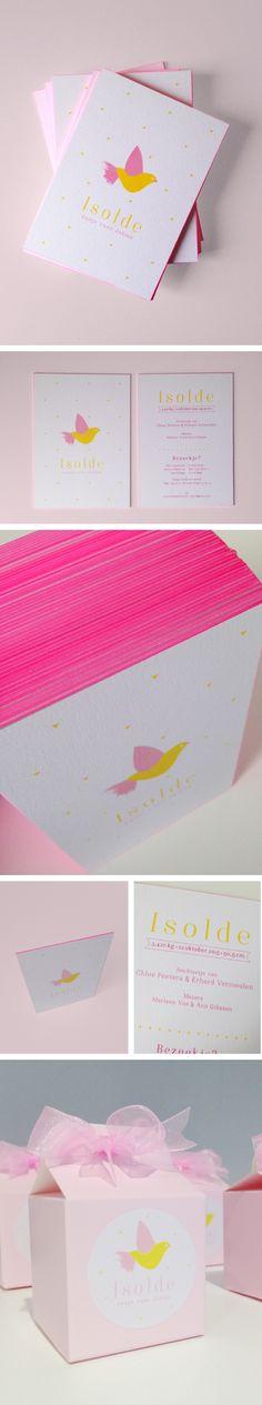 Kleine meisjes houden van roze ;-) geboortekaartje, roos, fluo, vogel, Isolde, kleur op snee