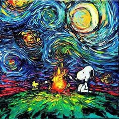 Snoopy and Woodstock Sitting Outside By a Campfire With Van Gogh's Starry Night in the Background