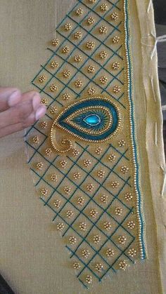 55 Best Ideas For Embroidery Blouse Designs - Blouse designs Embroidery Neck Designs, Bead Embroidery Patterns, Beaded Embroidery, Hand Work Embroidery, Hand Work Blouse Design, Simple Blouse Designs, Fancy Blouse Designs, Wedding Saree Blouse Designs, Maggam Work Designs