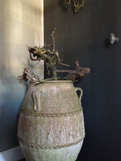 you might not want to water it so much. Olive Jar, Still Life Photos, Grey Art, Rustic Charm, Wabi Sabi, Terracotta, Home Deco, Branches, Decorative Accessories