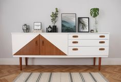 Mid Century Sideboard, Painted White With Teak Triangle Design Decor, Furniture, Sideboard Upcycle, Home Furniture, Upcycled Furniture, Mid Century Modern Sideboard, Home Decor, House Interior, Interior Design
