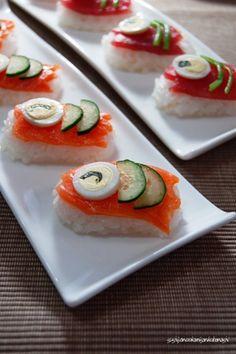 Salmon and Tuna Nigiri Sushi Decoration for Japan Childrens' Day 鯉のぼりの握り寿司 Japanese Sushi, Japanese Dishes, Ceviche, Oishi Sushi, Seafood Recipes, Appetizer Recipes, Nigiri Sushi, Sushi Art, Salmon Dishes