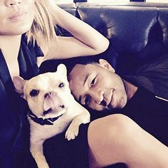 The Cutest Celeb Pet Instagrams of the Week | CHRISSY TEIGEN & JOHN LEGEND | The family that cuddles together, stays together! Clearly, French bulldog Pippa has these two wrapped around her little paw.