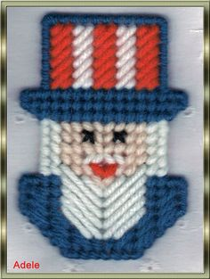 Plastic Canvas Uncle Sam Magnet by AdelesCrafts on Etsy, $1.75