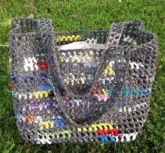 Plarn Tote  grey with color burst by PaleHorseStudios on Etsy