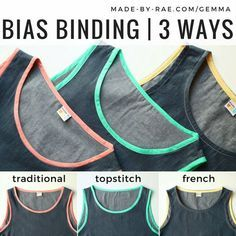There are lots of ways to sew a bias binding to finish a garment, so I've put together a series of tutorials to walk you through three of my favorite options! You'll see these demonstrated on my Gemma