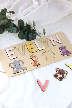 Christening Gift for Girls by WoodilyToys. Baptism Baby Present - Gift For Goddaughter - Baby Dedication Gift - Wooden Name Puzzle. Our Personalized custom name puzzles are designed to fuel imagination, inspire exploration and encourage the natural curiosity that leads to a lifetime of learning. Christmas toddler, Christmas 1 year old, Personalized Christmas baby gift #babytoy #babygift Wooden Toys For Toddlers, Wooden Baby Toys, Toddler Toys, Kids Toys, Baby Christmas Gifts, Toddler Christmas, Baby Presents, Baby Gifts, Baby Dedication Gifts