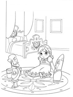 Ana Is Lonely Without Her Sister Elsa How About To Print And Color This Amazing Printable Disney Frozen Coloring Sheet Find Pin More
