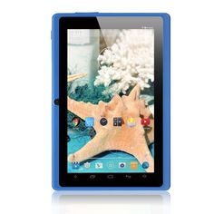 """iRULU eXpro X1 7 Inch Google Android Tablet PC, 1024x600 Resolution, 8GB Nand Flash, Wi-Fi, Games, Dual Cameras (Blue). Quad Core Processor 1.3GHZ, with Google Android 4.4 KitKat operating system. GMS Tested & Certified (GMS: Google Mobile Service). 7"""" LCD multi-touch screen; 1024 by 600 resolution. 8 GB capacity, extendable to 32 GB with a Micro SD card. Dual cameras; pre-installed with youtube, play store, maps and gmail, etc."""