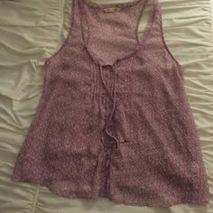 American Eagle Purple Chiffon Tank Gorgeous lavender color. Sheer, chiffon fabric. The pattern is what I would describe as floral, but a little abstract. A really soft, pretty, feminine item. American Eagle Outfitters Tops Tank Tops
