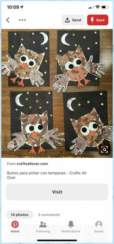 Autumn Crafts, Fall Crafts For Kids, Art For Kids, Owl Preschool, Kindergarten Art, Daycare Crafts, Toddler Crafts, Autumn Activities, Craft Activities For Kids