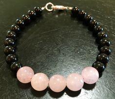 Energy Protection Bracelet (Black Tourmaline & Rose Quartz Crystal Bracelet)