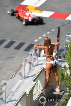 Girl watches the action at Monaco GP High-Res Professional Motorsports Photography Grid Girls, Trucks And Girls, Car Girls, Sexy Cars, Hot Cars, Volvo Wagon, Bus Girl, Scooter Girl, Fancy Cars