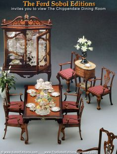 The Chippendale Dining Room Ensemble from The Ferd Sobol Editions. The master cabinetmaker himself  inspired intricately carved chairbacks with Ferd's famous Ball & Claw feet and gorgeous China Cabinet. Come see more at: http://thesoboleditions.blogspot.com/2013/03/chippendale.html