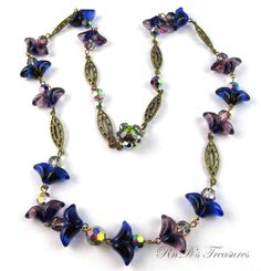 Vintage Purple & Blue ART GLASS & AB Beaded LONG Necklace Gold Tone 26""