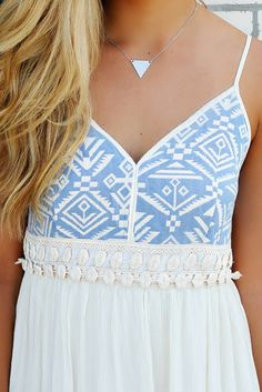 Portland Light Blue Aztec Embroidered Bust Crinkle Maxi Dress