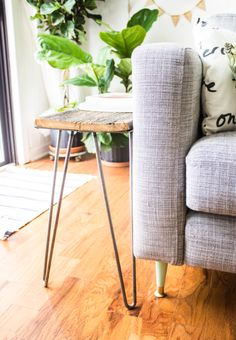hairpin leg table with barnboard