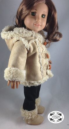 "Chilly Day Sherpa Coat And Boots 18"" Doll Clothes"