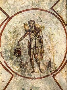"""A fresco of """"The Good Shepherd"""" in the Catacomb of St. Calixtus in Rome, Italy"""