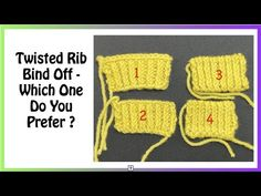 Invisible Bind Offs for Twisted Stitch Ribbing - YouTube Knitting Basics, Bind Off, Crochet Hats, Stitch, Youtube, Manual, Pattern, Crafts, Knitting Hats
