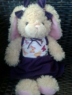 Handmade purple dress and matching bows for my build a bear made by me <3