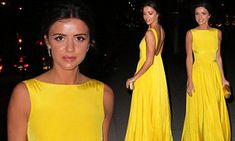 The former TOWIE star was hard to miss in the neon number as she arrived at the Celebration of Craftmanship gala, held at London's Victoria and Albert Museum on Thursday.
