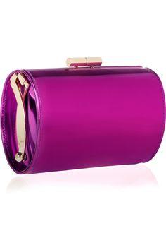 Jimmy Choo|Mini Tube mirrored-leather clutch|NET-A-PORTER.COM