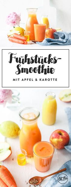 Leckerer Frühstückssmoothie mit Apfel & Karotte – 5 a day Quick and easy breakfast smoothie with apple, carrot and orange. Delicious breakfast smoothie with apple, carrot & oCarrot and apple smoothieApple Lemon Carrot Water – Recipe for Infuse Smoothies Banane, Smoothie Fruit, Apple Smoothies, Breakfast Smoothies, Healthy Smoothies, Healthy Drinks, Healthy Snacks, Healthy Recipes, Apple Breakfast