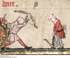 Bow and Crossbow, MS Bodley 264 fol 51v, 1344