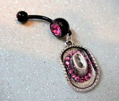 YOUnique DZigns handmade jewelry, belly rings, motorcycle accessories Belly button ring w pink crystal Cowgirl hat and pink crystals Belly Button Piercing Jewelry, Bellybutton Piercings, Belly Button Rings, Cartilage Piercings, Cartilage Earrings, Body Piercing, Cute Jewelry, Body Jewelry, Jewlery