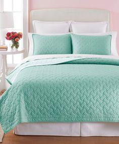 Martha Stewart Collection Basket Stitch Quilts (Aqua) Love this under the comforter!