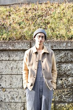 Street Style: Spotted in Harajuku, Tokyo /glasses OLIVER GOLDSMITH /jacket N.HOLLYWOOD /beanie CA4LA /More photo at: http://www.fashionsnap.com/streetsnap/2015-02-25/52350/