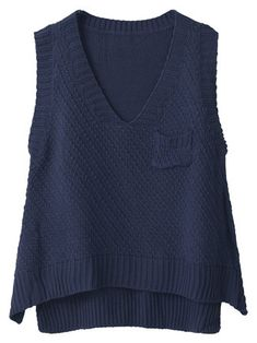 Casual Women Solid V-Neck Loose Knit Vest Sweater
