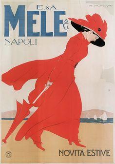 Marcello Dudovich, La signora in rosso, 1900