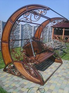 Victorian style swing seat by Sergiy Nekhin Unique Furniture, Garden Furniture, Furniture Online, Cheap Furniture, Cabin Furniture, Street Furniture, Metal Furniture, Furniture Sale, Furniture Projects