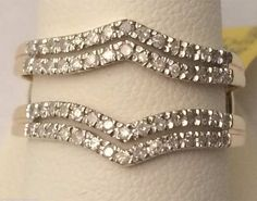 Yellow Gold Solitaire Enhancer Diamonds Ring Double Row Guard Wrap Wedding Band (0.33ct. tw)- RG321684977858