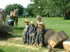 Amish boys taking a rest break during a tree harvesting chore.