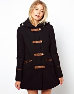 ASOS Duffle Coat With PU Trims & Borg Lining, navy and brown