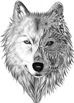 Bildergebnis für wolf illustration More - Julie's Tattoos Wolf Illustration, Illustration Tattoo, Wolf Tattoo Design, Skull Tattoo Design, Tattoo Wolf, Tattoo Designs, Lizard Tattoo, White Wolf Tattoo, Wolf Design