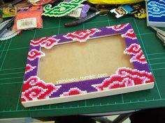 Fuse beads photo frame with pink and purple Mega Mendung batik pattern by yamineco