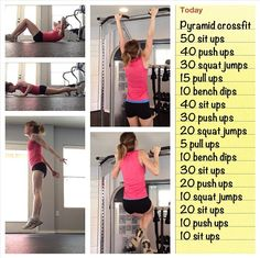 Pyramid Crossfit Workout. Goal: to actually be able to do this! We have tried this it's not as easy as it sounds #GetFitandHealthy