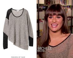 In a sneak peek for this week's episode, 'Girls (And Boys) on Film', in which only songs from movies will be covered, Rachel is wearing yet another beautiful sweater by Helmut Lang.  Helmut Lang Flecked Boucle Sweater - $290.00