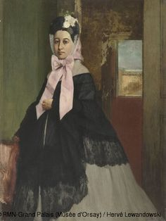 Edgar Degas(1834-1917)Thérèse de Gas, Circa 1863,Oil on canvas,H.89;W.67 cm,© RMN-Grand Palais (Musée d'Orsay)portrait of the painter's sister,Thérèse de Gas(1840- 1912),of whom the artist was very fond.It was probably painted just before Thérèse married her cousin Edmondo Morbilli,the son of a noble Neapolitan family.The figure of Thérèse forms a perfect triangle,with her wide dress forming the base,giving her an astonishing solidity and presence for her young age.
