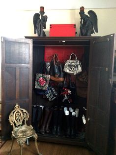 Wall Control's colorful chic metal pegboard is perfect in unique applications where storage and organizational space is limited, like in this beautiful antique cabinet in New York City for purse organization! Thanks for the great customer submission Priscilla!
