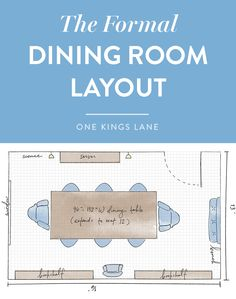 Here's a helpful guide for a formal and traditional dining room layout. Choose the largest dining table with extendable leaves you can fit, as well as different styles for the head and (smaller) side chairs. Adding bookshelves allows the room to multitask as a study.