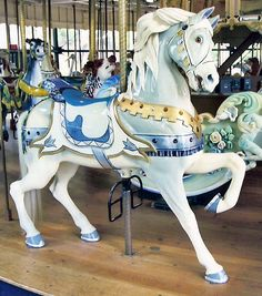White carousel horse by Bronach from the carousel in Golden Gate.