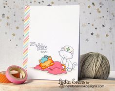 Get Well Cat card by Lydia Evans | Newton's Sick Day Stamp set by Newton's Nook Designs